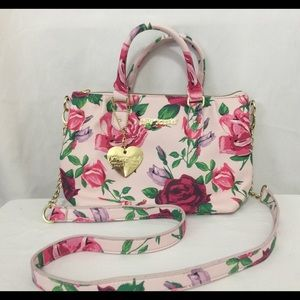 Betsey Johnson pink floral shoulder bag NWOT